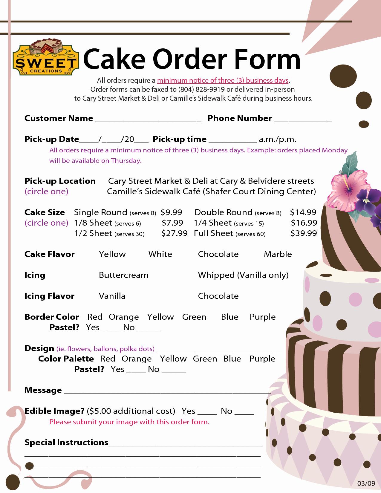Cake order forms Templates Unique order forms Cake Negocios Pinterest
