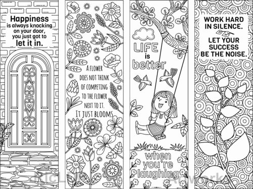 Calendar Bookmark Template Beautiful 8 Coloring Bookmarks with Feel Good Quotes Printable