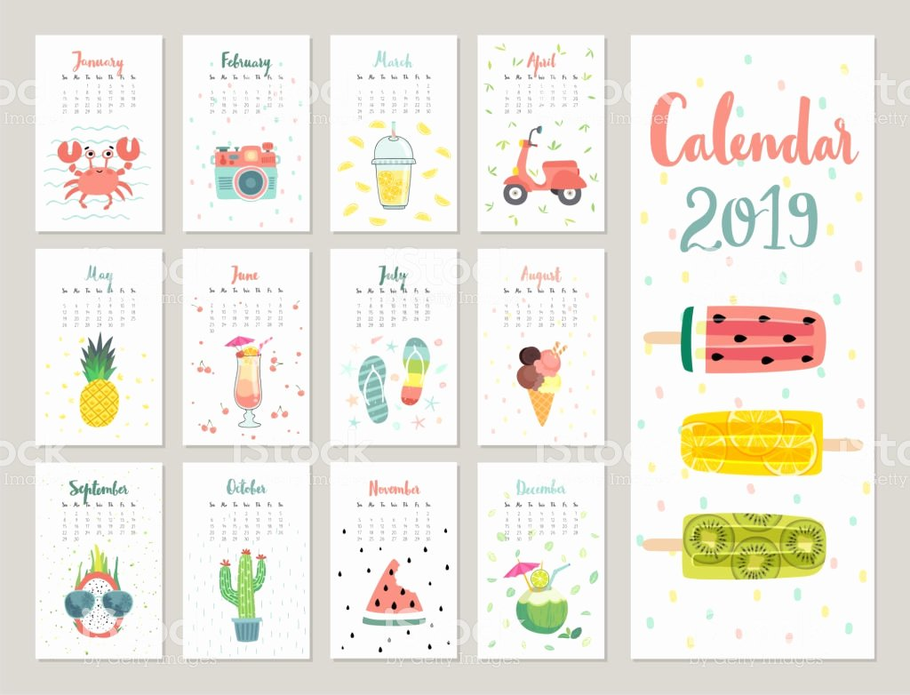 calendar 2019 cute monthly calendar with lifestyle objects fruits and plants gm