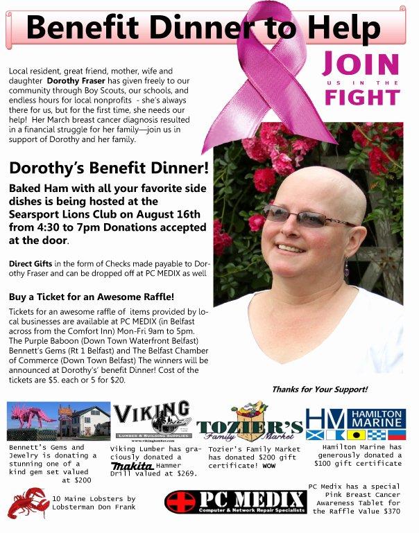 Cancer Benefit Flyer Ideas Elegant Benefit Dinner for Dorothy Fraser