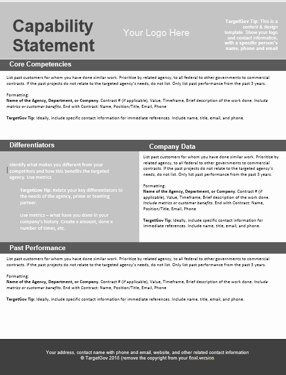 Capability Statement Template Doc Awesome Capability Statement Editable Template Tar Gov