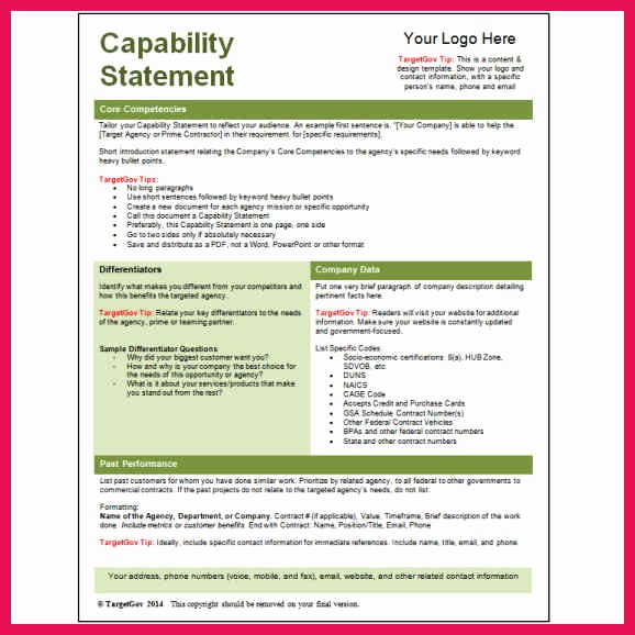 Capability Statement Template Doc Awesome Capability Statement Template