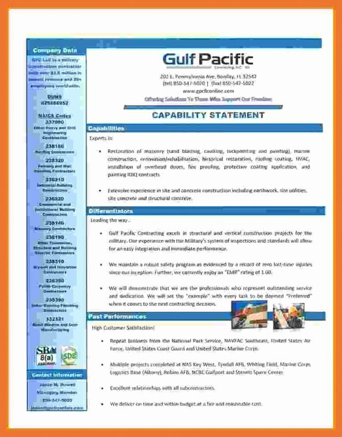 Capability Statement Template Doc Beautiful Capability Statement Template for Government Contractors