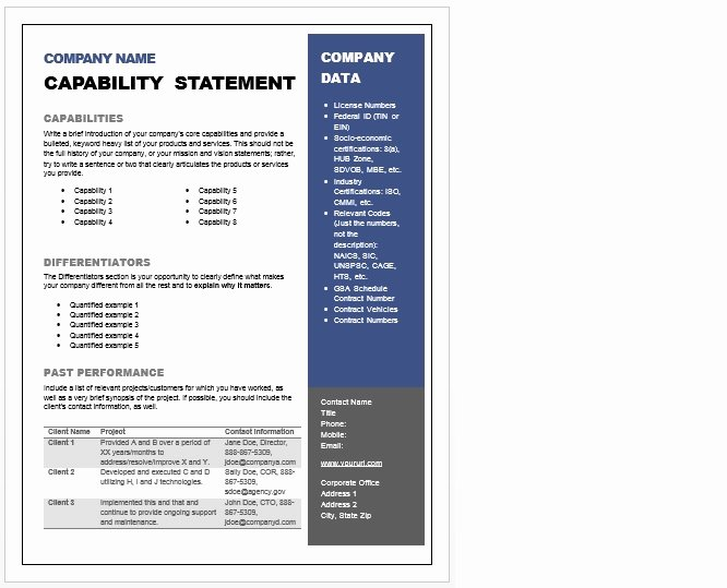 Capability Statement Template Doc Unique Capability Statement Template