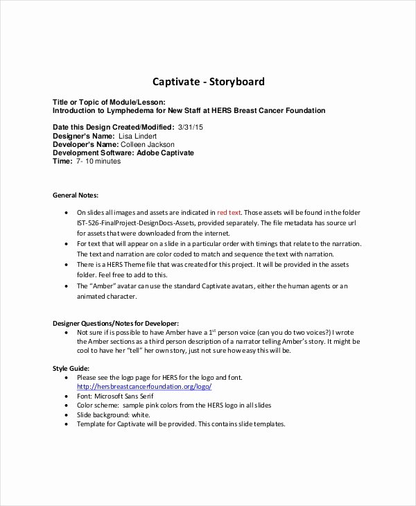 Captivate Storyboard Template Elegant Story Board Template 8 Free Word Pdf Documents