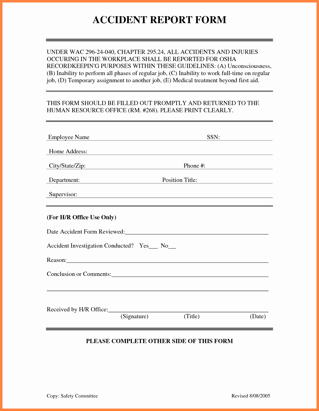 Car Accident Report form Template Lovely 4 Accident Incident Report form Template