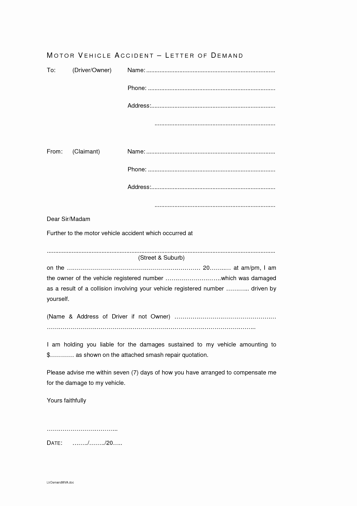 Car Accident Settlement Agreement Form Awesome 7 Minor Car