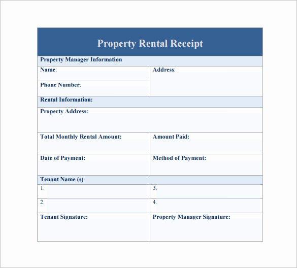 sample rental receipt template