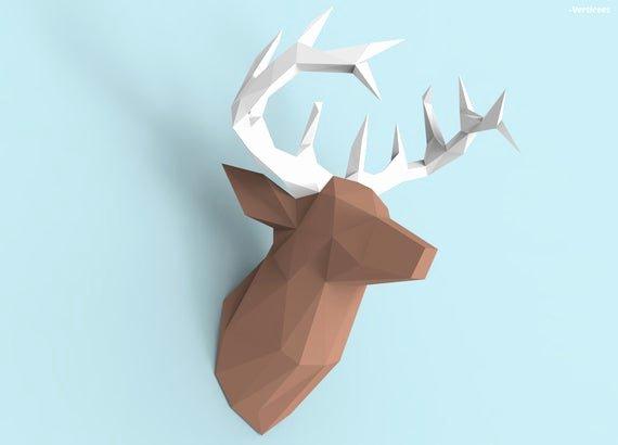 Cardboard Deer Head Template Best Of Deer Head Papercraft Pdf Pack 3d Paper Sculpture Template