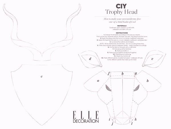 Cardboard Deer Head Template Unique Template Animal Head Google Search