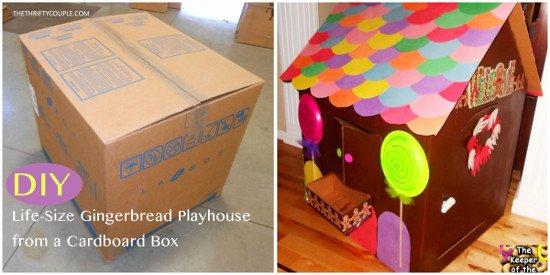 Cardboard Gingerbread House Awesome Diy Life Size Gingerbread Playhouse From A Cardboard Box