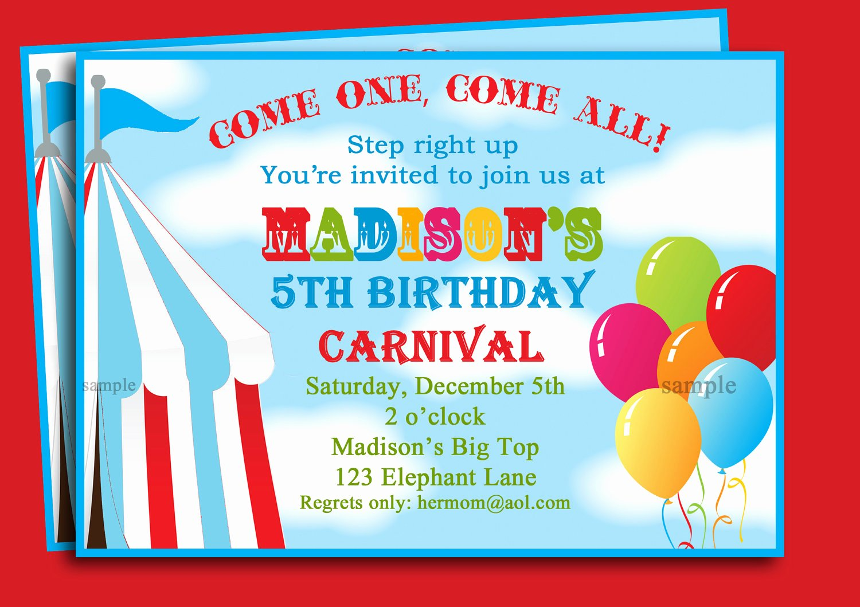 Carnival Invitation Template Free Fresh Free Printable Carnival Birthday Party Invitations