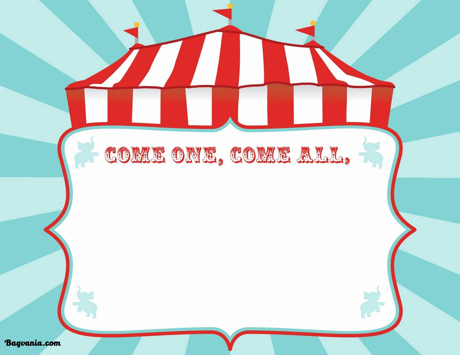 Carnival Invitation Template Free Inspirational Free Printable Circus Birthday Invitations Template – Free