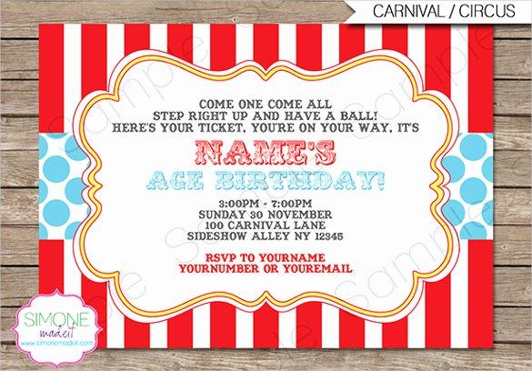 Carnival Invitation Template Free New Circus Party Invitation Template – 23 Free Jpg Psd
