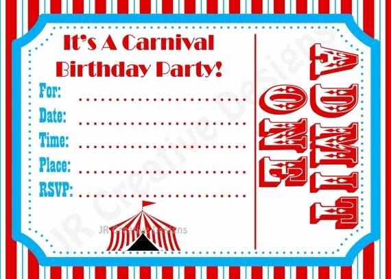 Carnival Invitation Template Free New Free Carnival Birthday Invitations Template Google