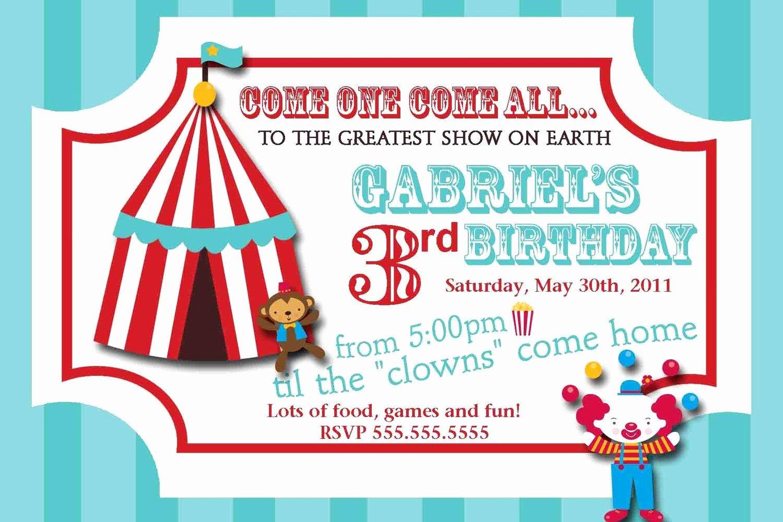 Carnival Invitation Template Free Unique Carnival Circus Ticket Birthday Invitation