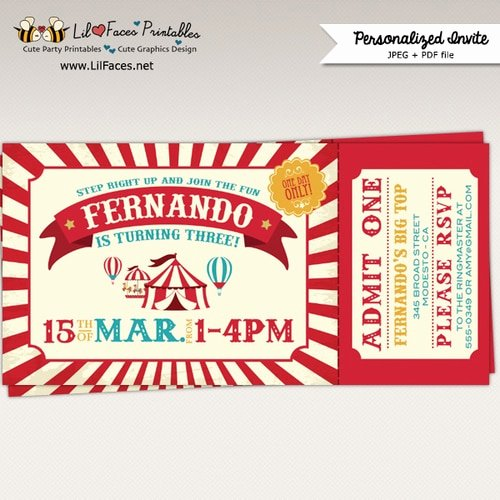 vintage circus carnival birthday party printable ticket invitations