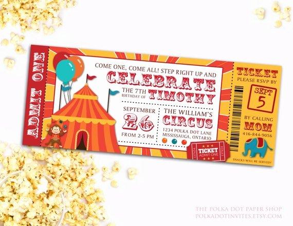 Carnival Ticket Invitations Elegant Circus Party Ticket Invitation Birthday Party Invitation
