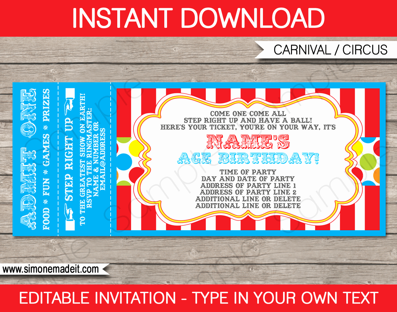 Carnival Ticket Template Awesome Carnival Party Ticket Invitation Template