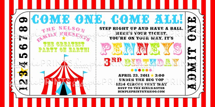 Carnival Ticket Template Awesome Circus Tent Ticket Printable Invitation Dimple Prints Shop