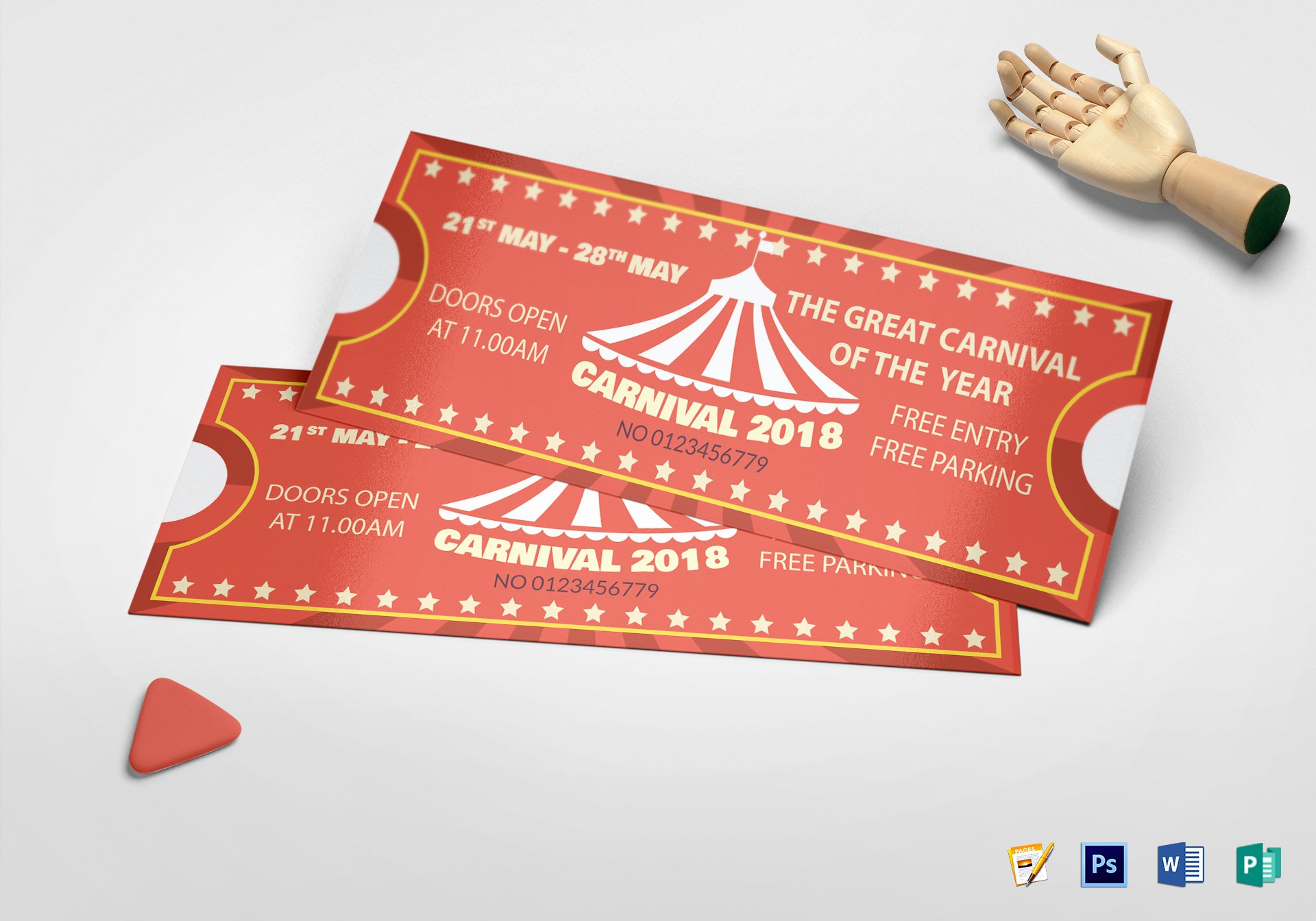 Carnival Ticket Template Awesome Printable Carnival Ticket Design Template In Psd Word