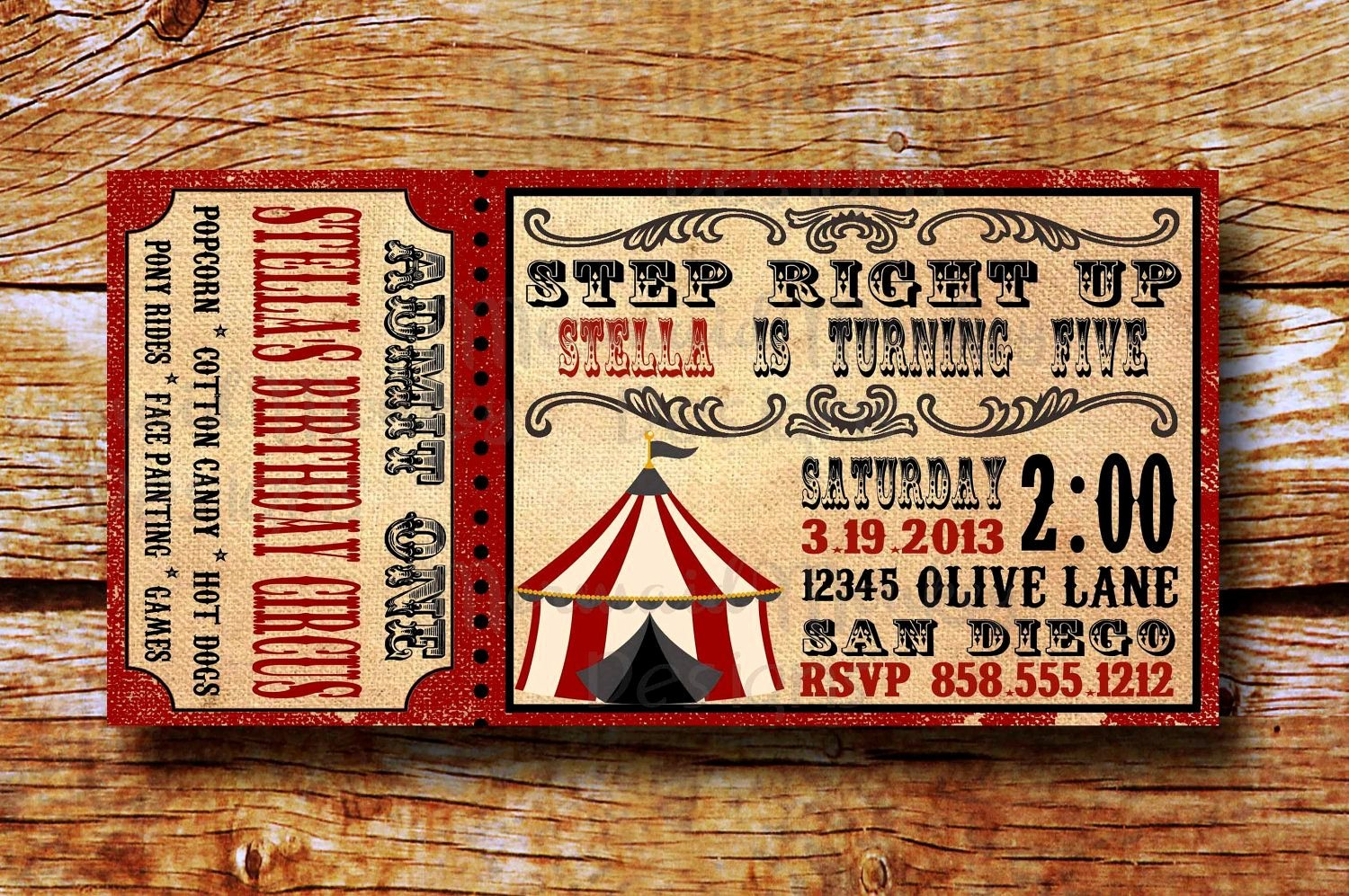 Carnival Ticket Template Awesome Vintage Circus Invitation Birthday Circus Invitation