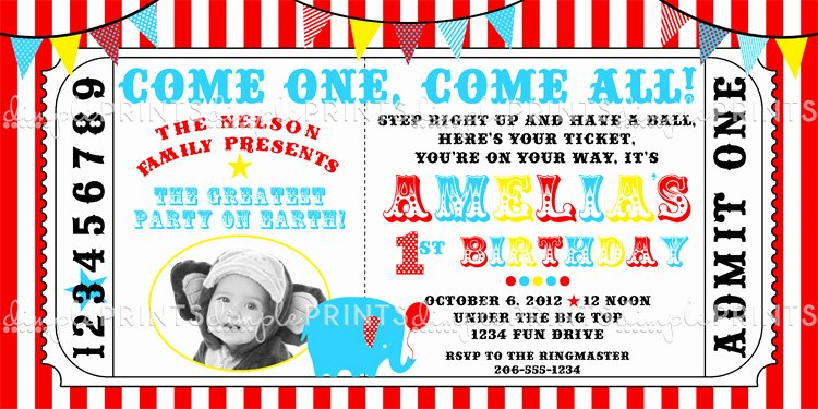 Carnival Ticket Template Beautiful Circus Carnival Elephant Printable Invite Dimple Prints Shop
