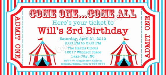Carnival Ticket Template Beautiful Circus Ticket Invitation Custom Printable by
