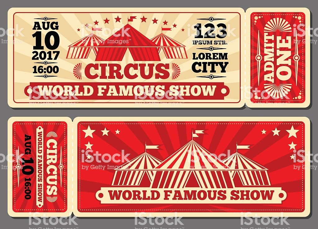 Carnival Ticket Template Best Of Circus Magic Show Entrance Vector Tickets Templates Stock