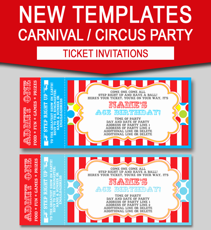 Carnival Ticket Template Best Of Editable Carnival Ticket Invitations