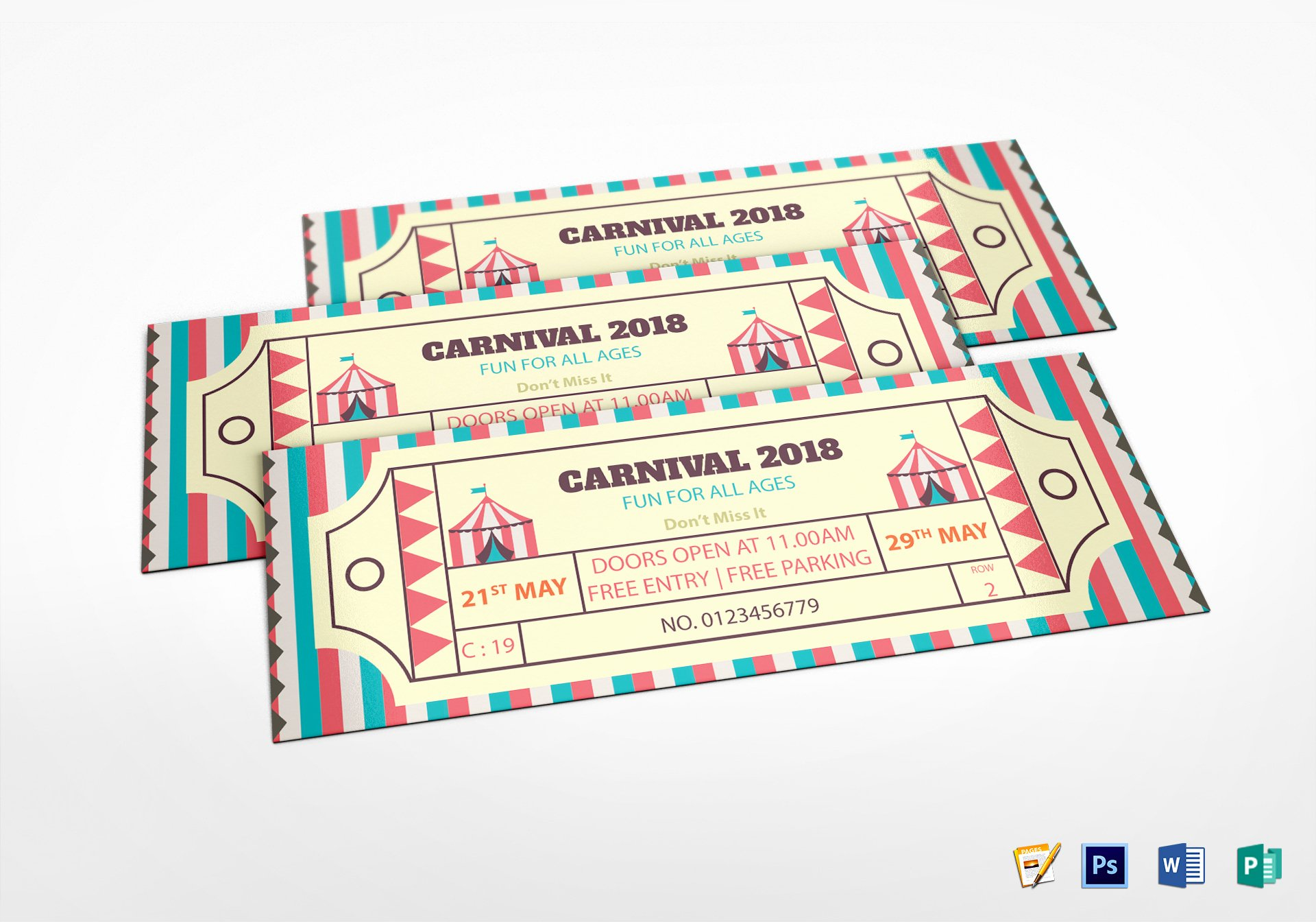 Carnival Ticket Template Elegant Simple Carnival Ticket Design Template In Word Psd Pages