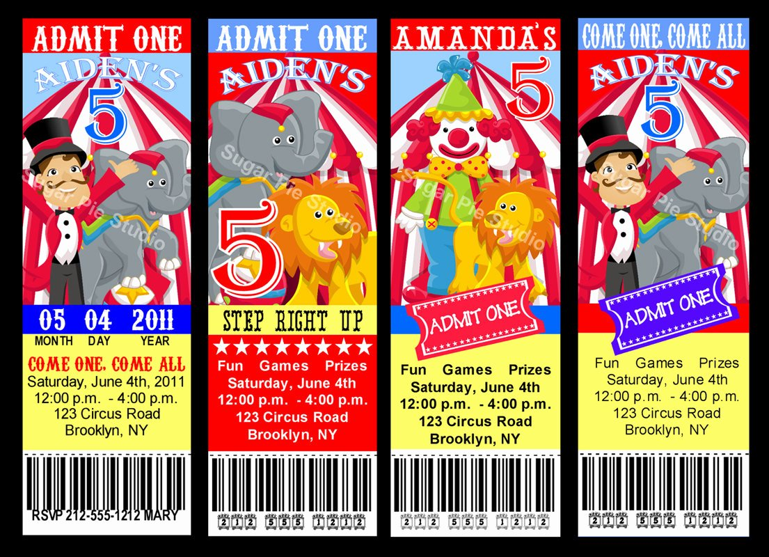 Carnival Ticket Template Fresh Circus Carnival theme Ticket Style Invitation by
