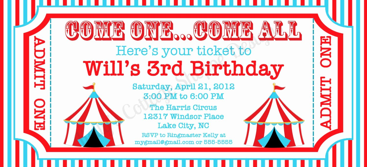 Carnival Ticket Template Inspirational Circus Ticket Invitation Custom Printable by