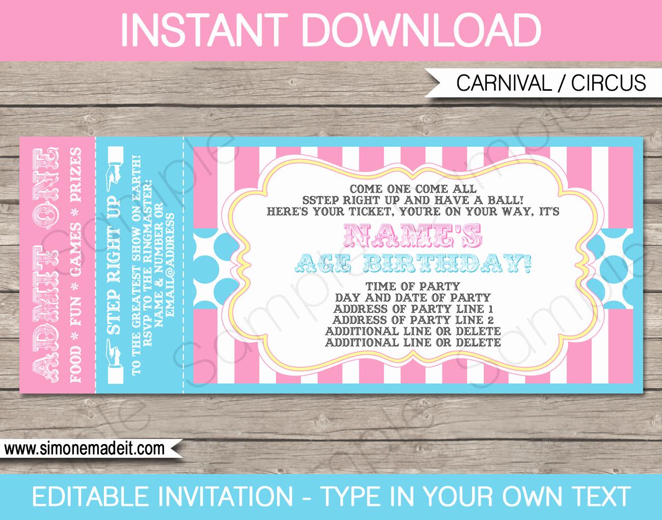 Carnival Ticket Template Luxury Carnival Ticket Invitations Template Carnival