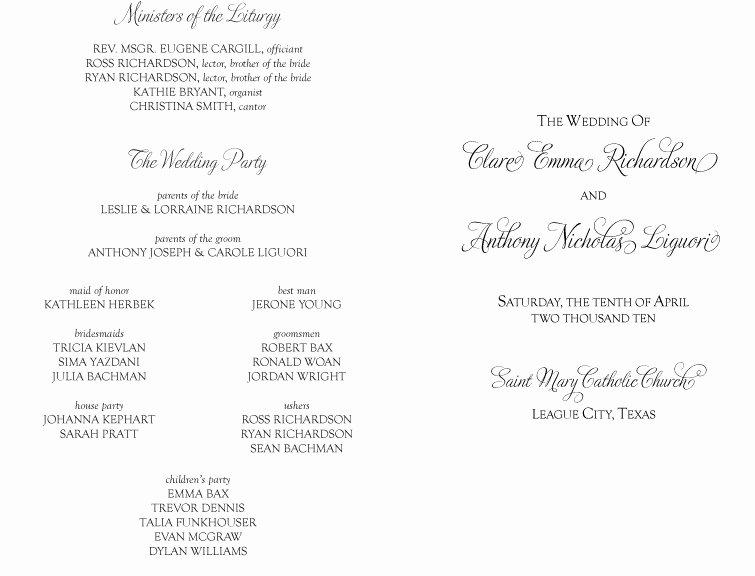 Catholic Wedding Ceremony Program Templates Beautiful Best S Of Copy Church Programs Sample Wedding
