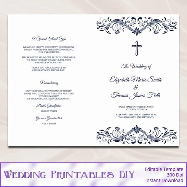 Catholic Wedding Ceremony Program Templates Beautiful Catholic Wedding Program Template Diy Navy Blue Cross