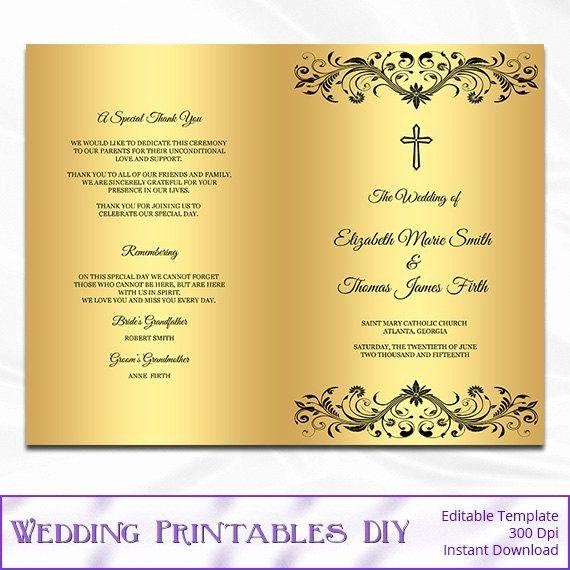 Catholic Wedding Ceremony Program Templates Best Of Catholic Wedding Program Template Diy by