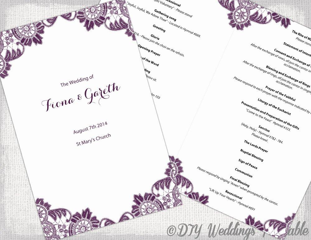 Catholic Wedding Ceremony Program Templates Luxury Plum Catholic Wedding Program Template Antique