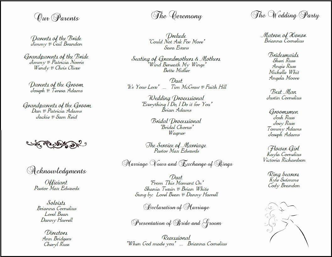 Catholic Wedding Ceremony Program Templates New Example Of Wedding Programs