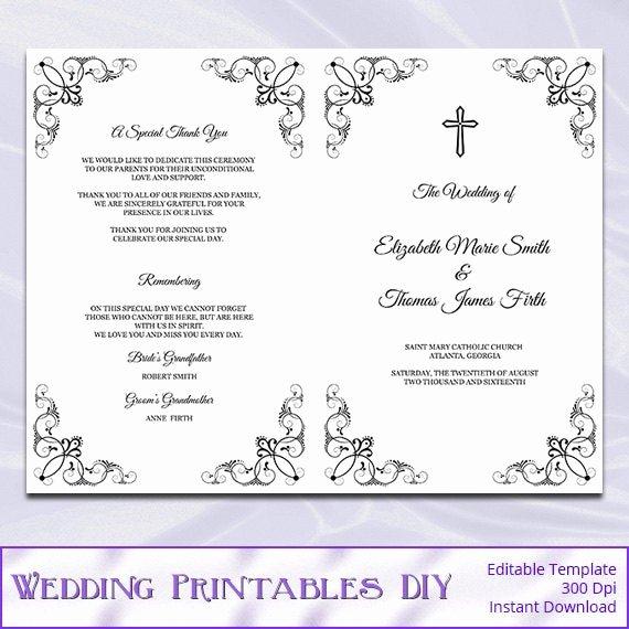 Catholic Wedding Ceremony Program Templates Unique Catholic Wedding Program Template Diy Black White Cross