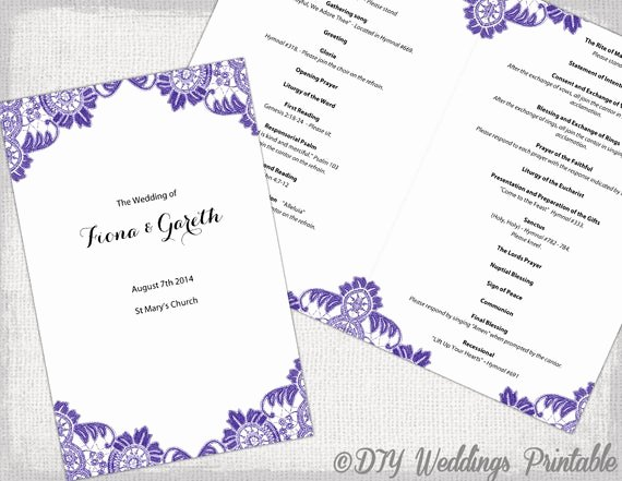 Catholic Wedding Program Templates Free Beautiful Catholic Wedding Program Template Purple Antique