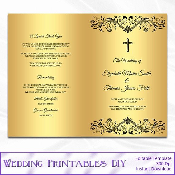 Catholic Wedding Program Templates Free Beautiful Items Similar to Catholic Wedding Program Template Diy