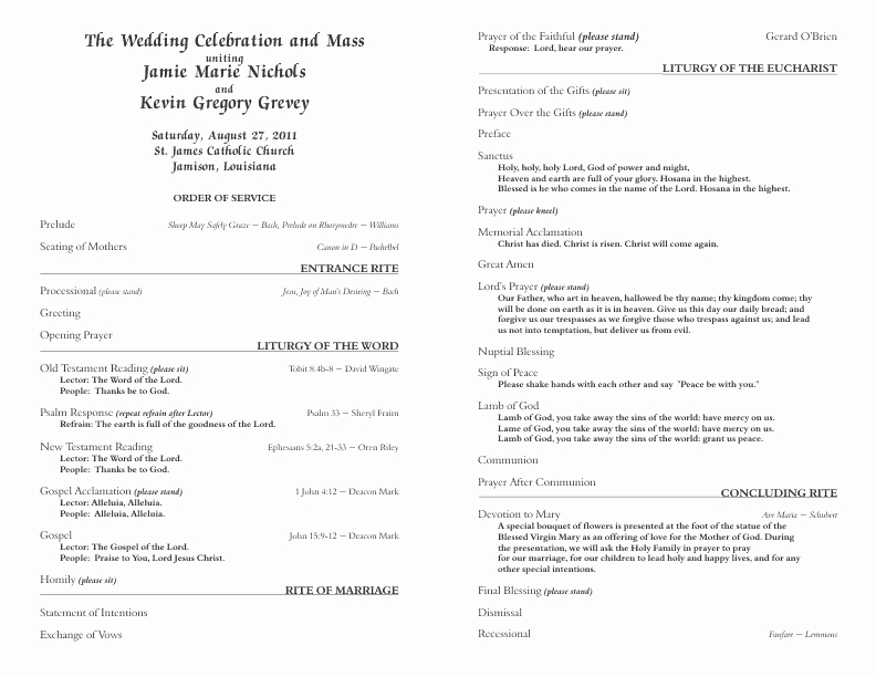 Catholic Wedding Program Templates Free Elegant Catholic Wedding Program Template 6