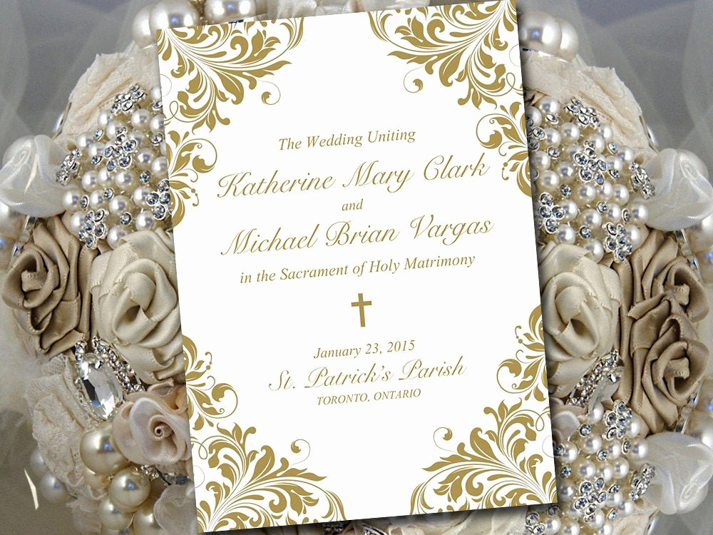 Catholic Wedding Program Templates Free Fresh Catholic Wedding Program Template Printable Fold Over