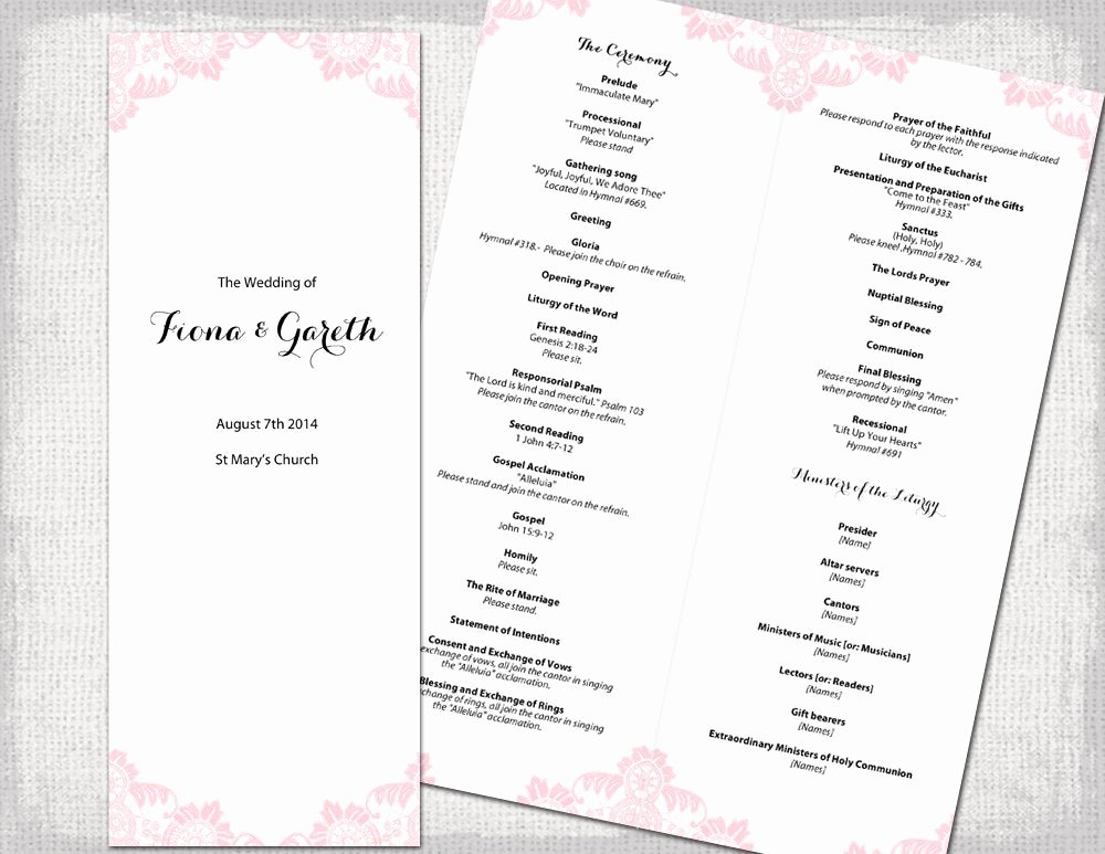Catholic Wedding Program Templates Free Luxury Catholic Wedding Program Template Powder Pink Antique
