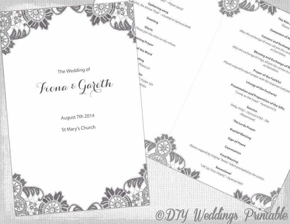 Catholic Wedding Program Templates Free Luxury Diy Catholic Wedding Program Template Charcoal Gray