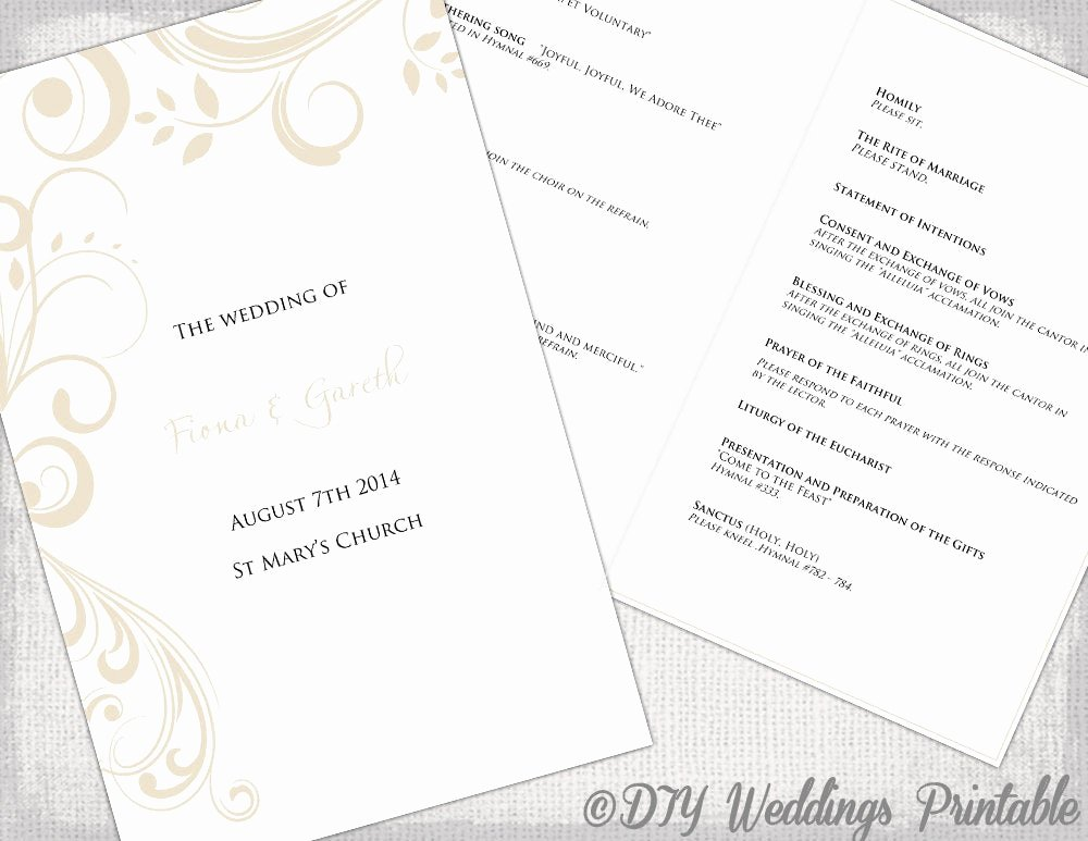 Catholic Wedding Program Templates Free Unique Catholic Wedding Program Template by Diyweddingsprintable