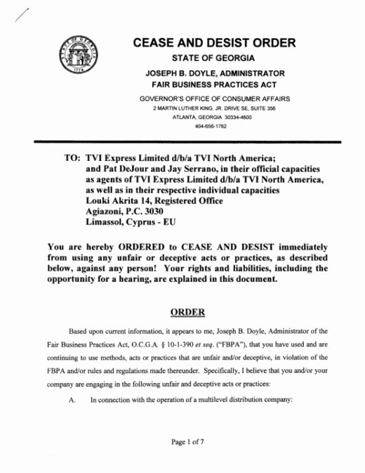 Cease and Desist order Template Awesome Tvi Express Scam Lies Exposed Tviexpress is An