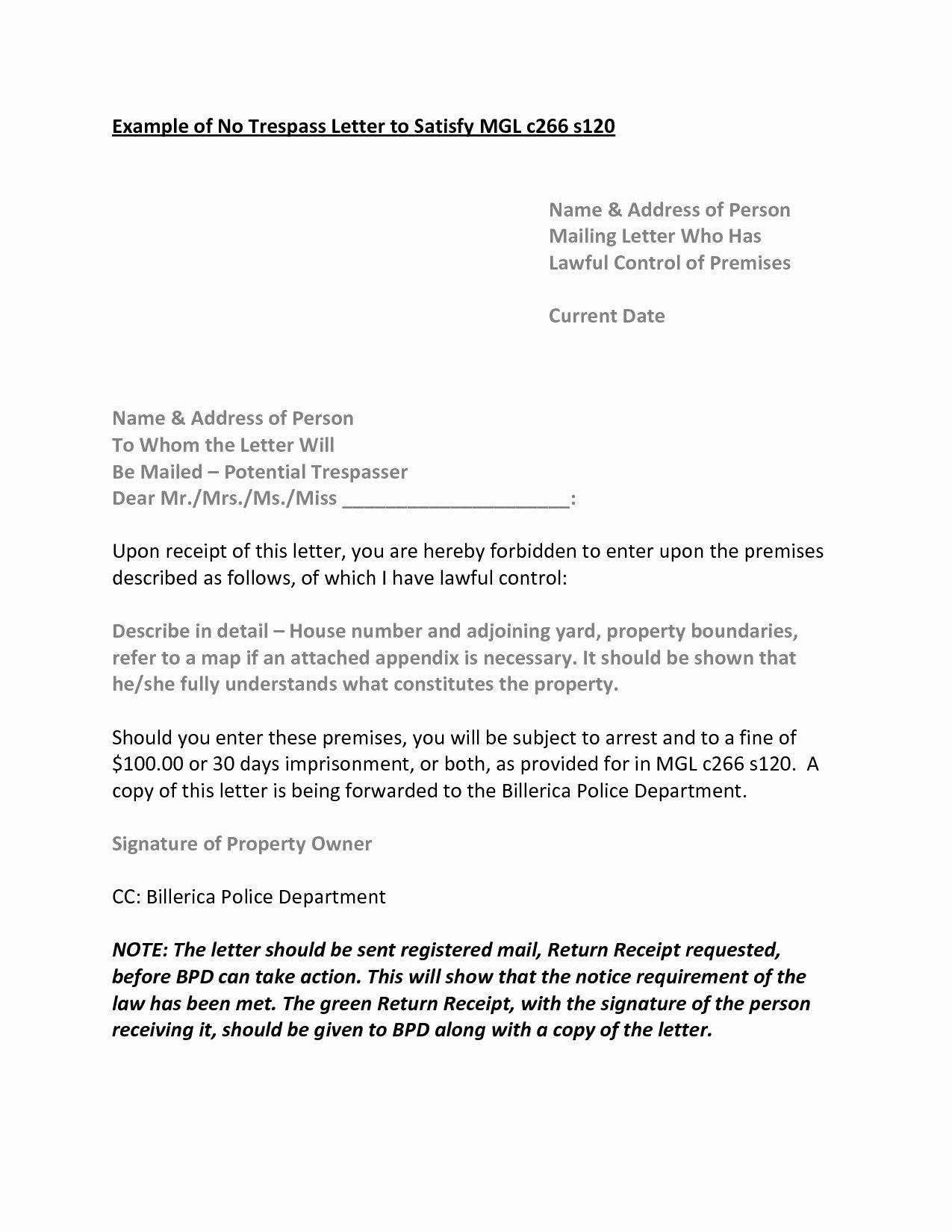 Cease and Desist order Template Beautiful No Trespassing Letter Tario