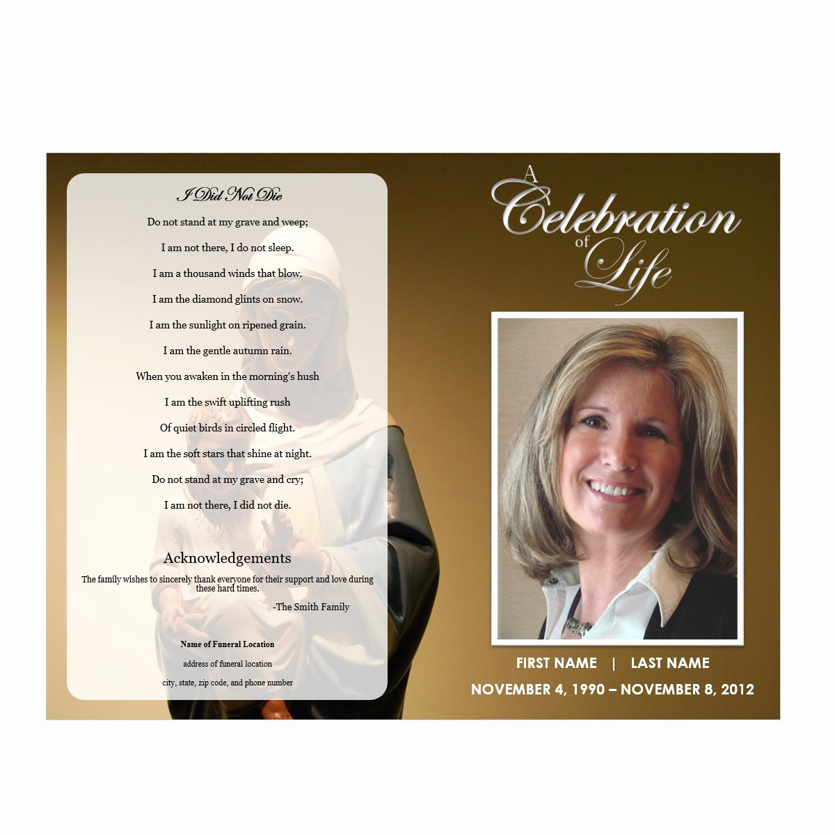 Celebration Of Life Template Free Unique Virgin Mary Funeral Program Funeral Pamphlets